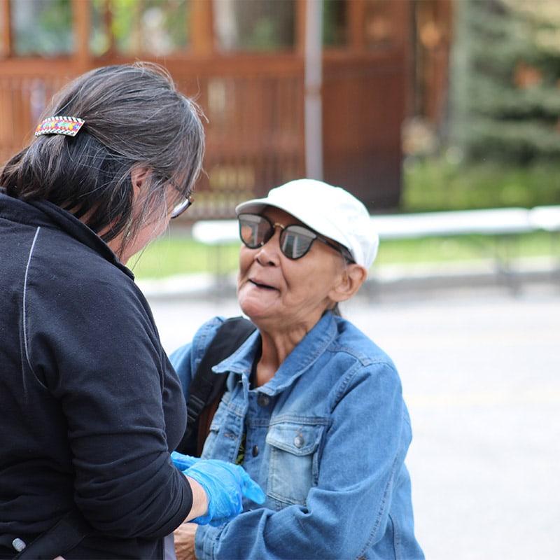 Two Inuit women conversing