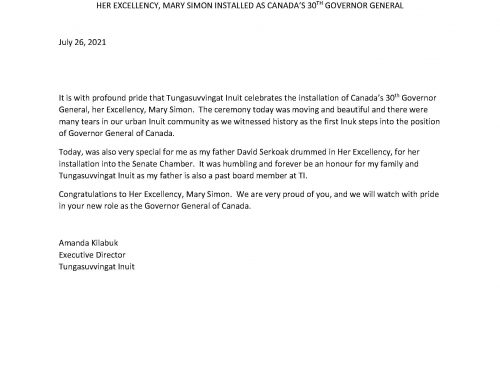 STATEMENT FROM TUNGASUVVINGAT INUIT HER EXCELLENCY, MARY SIMON INSTALLED AS CANADA'S 30TH GOVERNOR GENERAL